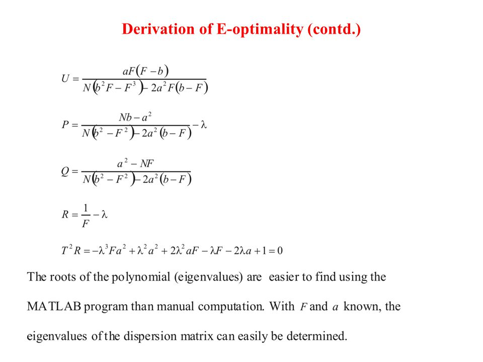 Derivation of E-optimality (contd.)