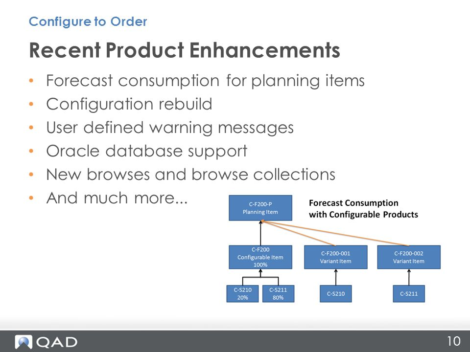 10 Forecast consumption for planning items Configuration rebuild User defined warning messages Oracle database support New browses and browse collections And much more...