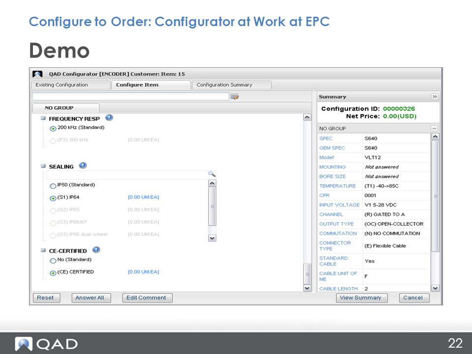 22 Demo Configure to Order: Configurator at Work at EPC