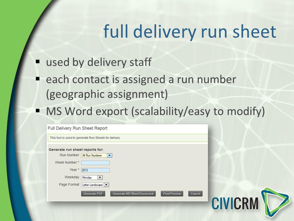 full delivery run sheet used by delivery staff each contact is assigned a run number (geographic assignment) MS Word export (scalability/easy to modif