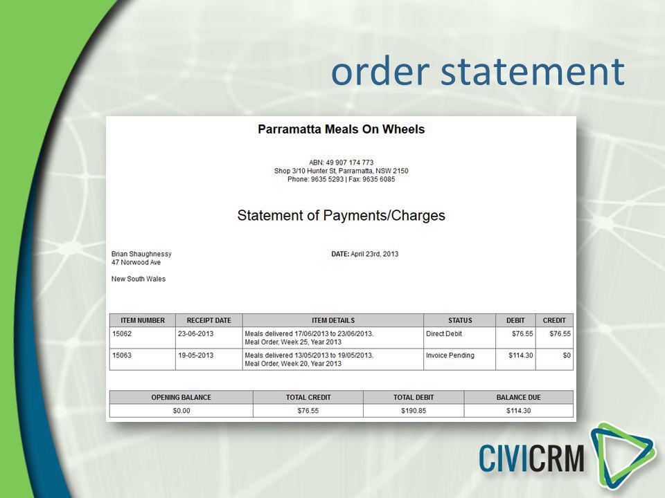order statement