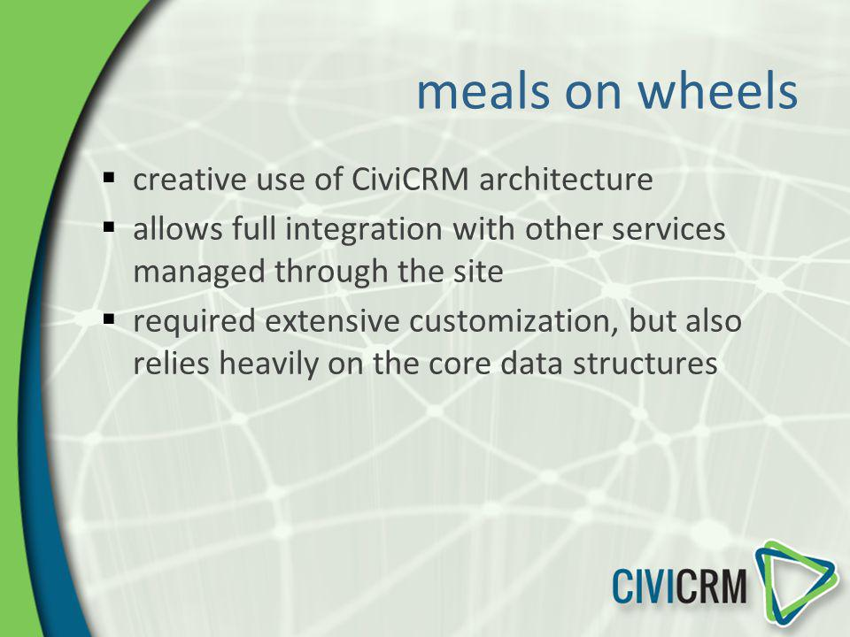 meals on wheels creative use of CiviCRM architecture allows full integration with other services managed through the site required extensive customiza