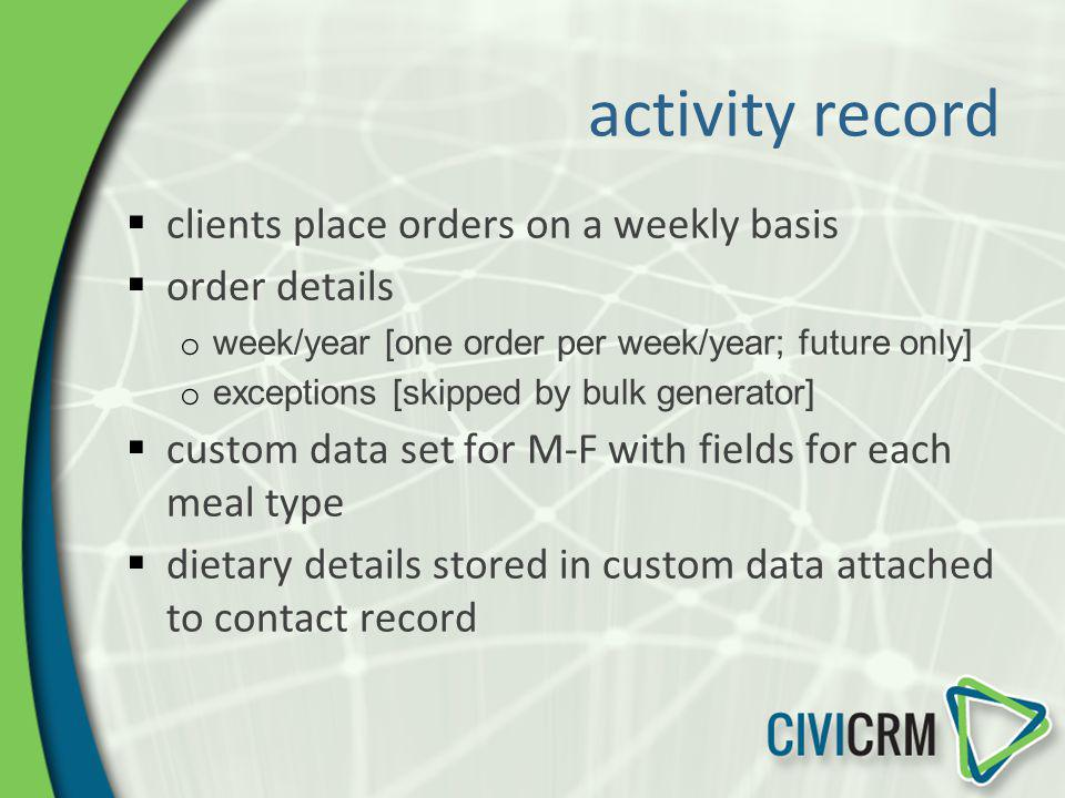activity record clients place orders on a weekly basis order details o week/year [one order per week/year; future only] o exceptions [skipped by bulk