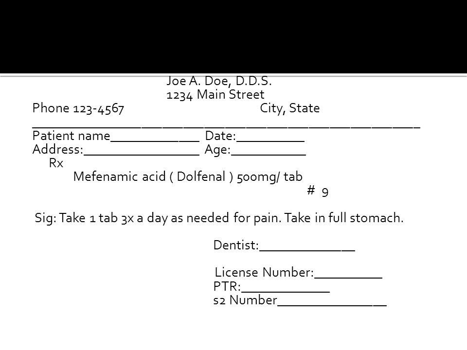 Joe A. Doe, D.D.S. 1234 Main Street Phone 123-4567City, State ________________________________________________________ Patient name_____________ Date: