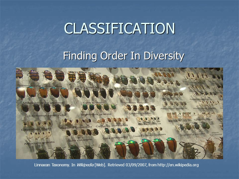 Definition of Taxonomy Discipline of classifying Discipline of classifying organisms and assigning each organism a universally accepted name accepted name Leptinotarsa decemlineata Colorado potato beetle 1