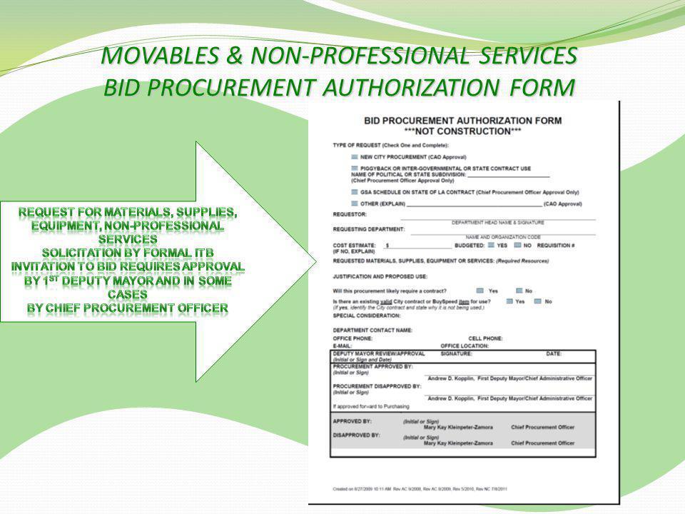MOVABLES & NON-PROFESSIONAL SERVICES BID PROCUREMENT AUTHORIZATION FORM
