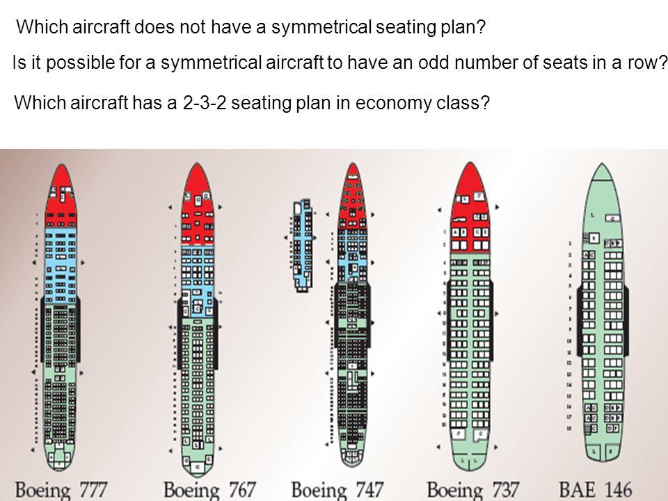 Which aircraft does not have a symmetrical seating plan? Is it possible for a symmetrical aircraft to have an odd number of seats in a row? Which airc