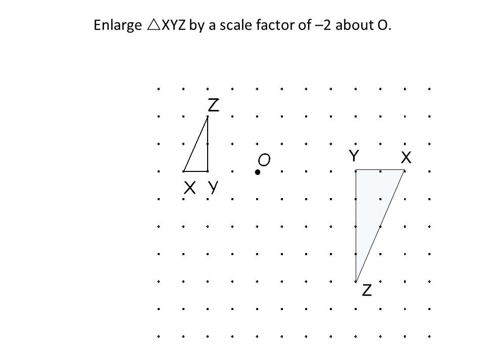 Enlarge XYZ by a scale factor of –2 about O. Y Z X