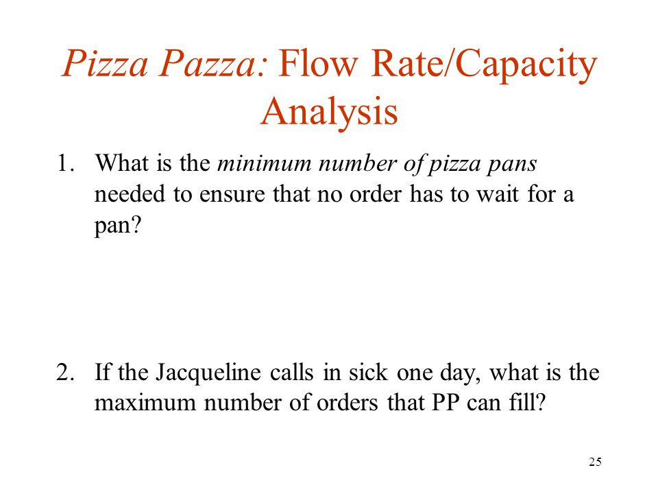 25 Pizza Pazza: Flow Rate/Capacity Analysis 1.What is the minimum number of pizza pans needed to ensure that no order has to wait for a pan? 2.If the