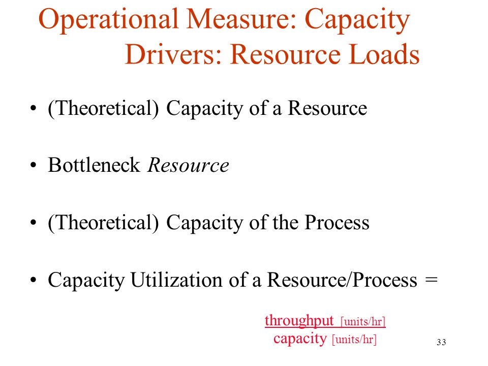 33 Operational Measure: Capacity Drivers: Resource Loads (Theoretical) Capacity of a Resource Bottleneck Resource (Theoretical) Capacity of the Proces