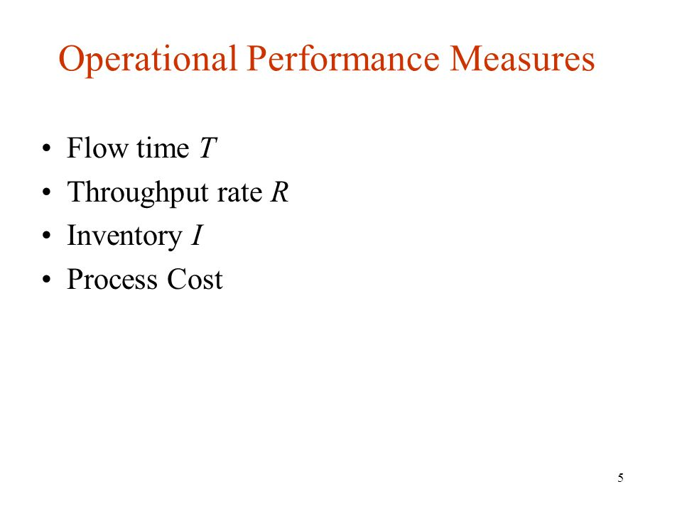 5 Operational Performance Measures Flow time T Throughput rate R Inventory I Process Cost