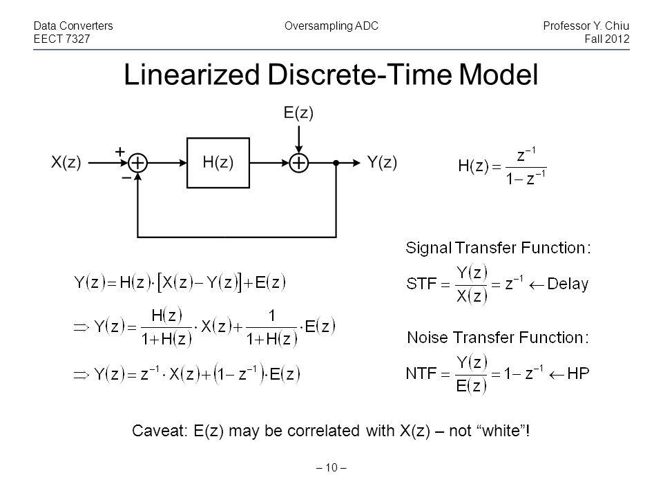 Linearized Discrete-Time Model – 10 – Data ConvertersOversampling ADCProfessor Y.