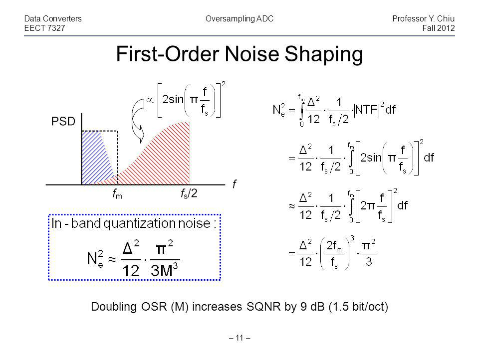 First-Order Noise Shaping – 11 – Data ConvertersOversampling ADCProfessor Y.