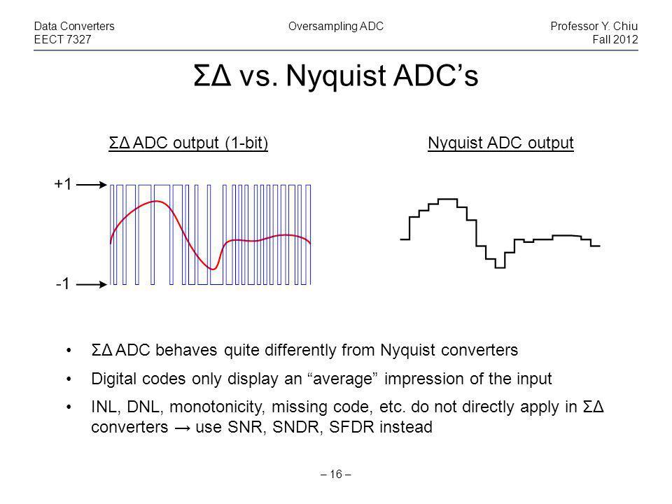 ΣΔ vs. Nyquist ADCs – 16 – Data ConvertersOversampling ADCProfessor Y.