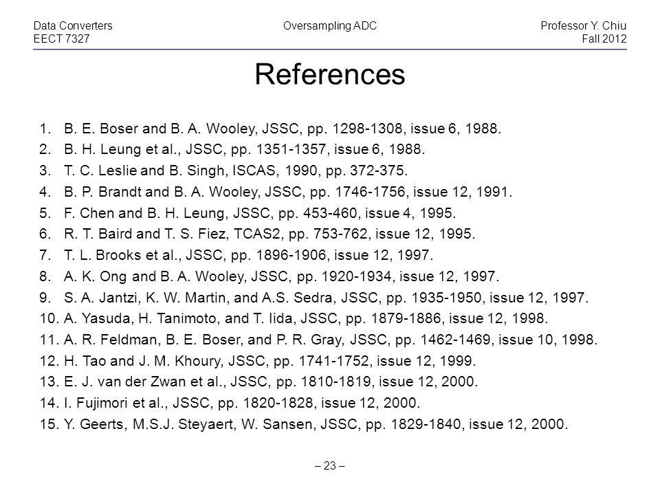 References – 23 – Data ConvertersOversampling ADCProfessor Y.
