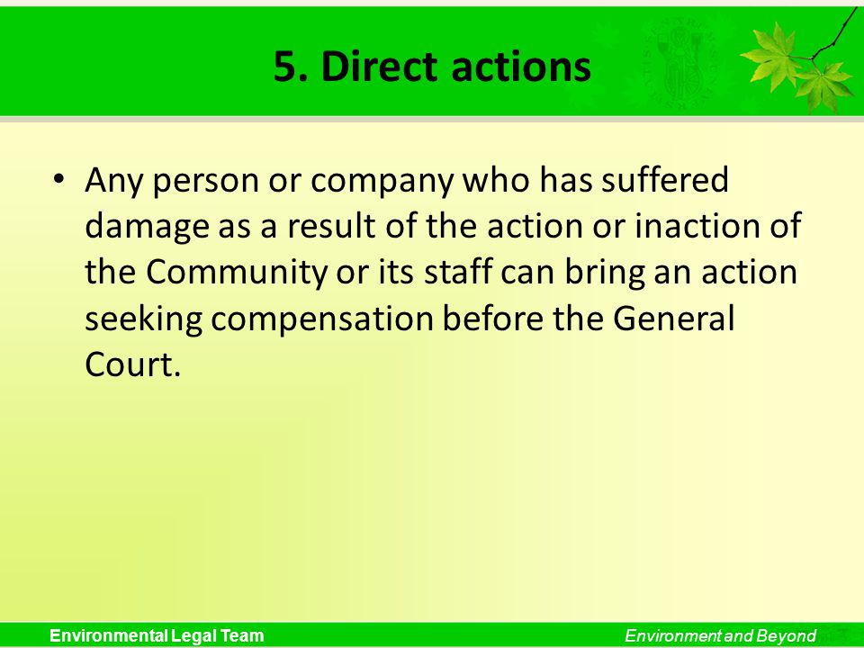 Environmental Legal TeamEnvironment and Beyond 5. Direct actions Any person or company who has suffered damage as a result of the action or inaction o