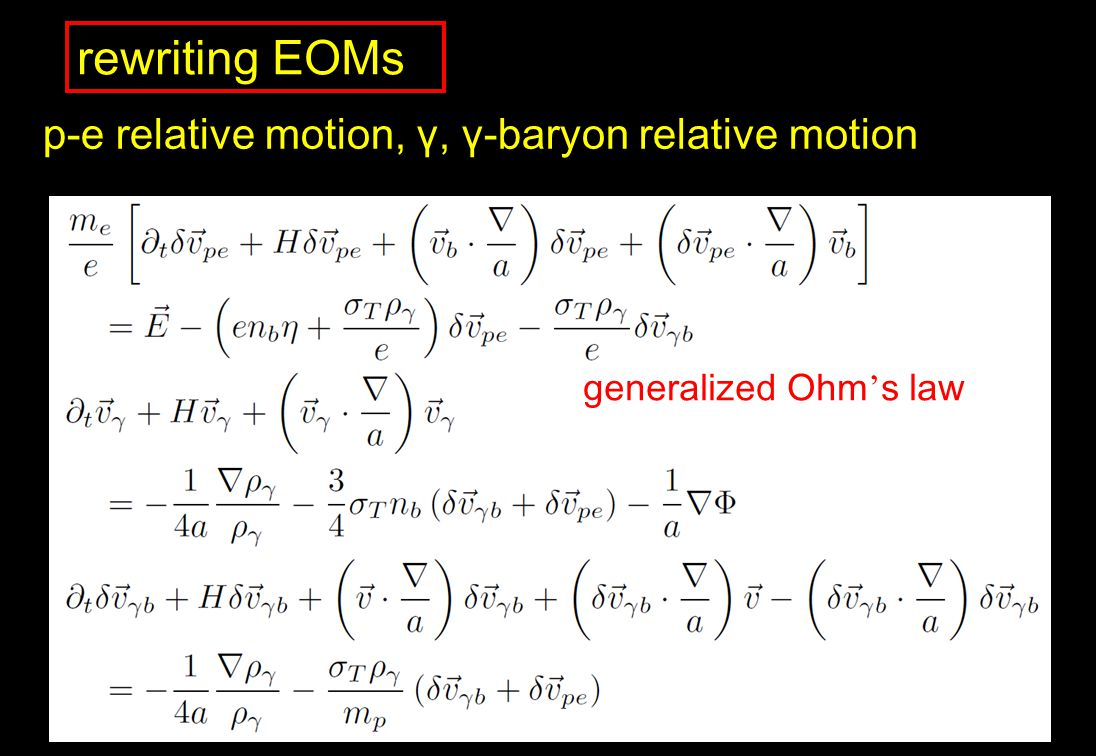rewriting EOMs p-e relative motion, γ, γ-baryon relative motion generalized Ohm s law