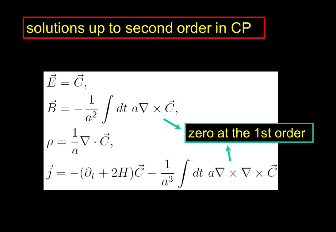 solutions up to second order in CP zero at the 1st order