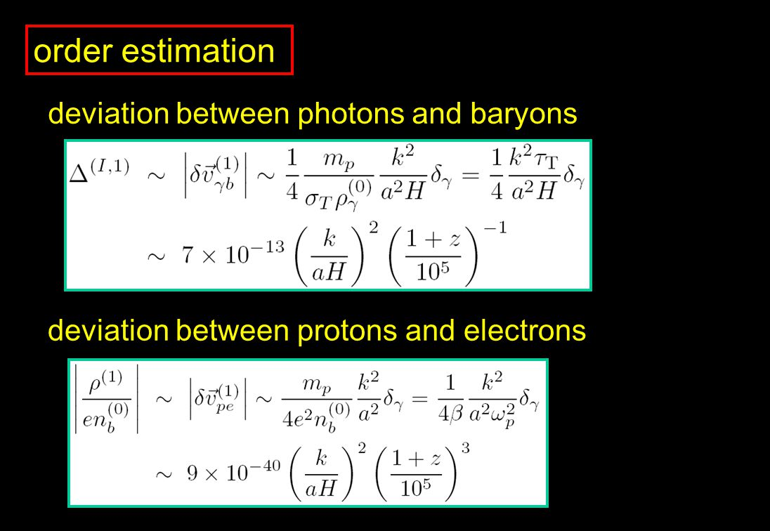 order estimation deviation between photons and baryons deviation between protons and electrons
