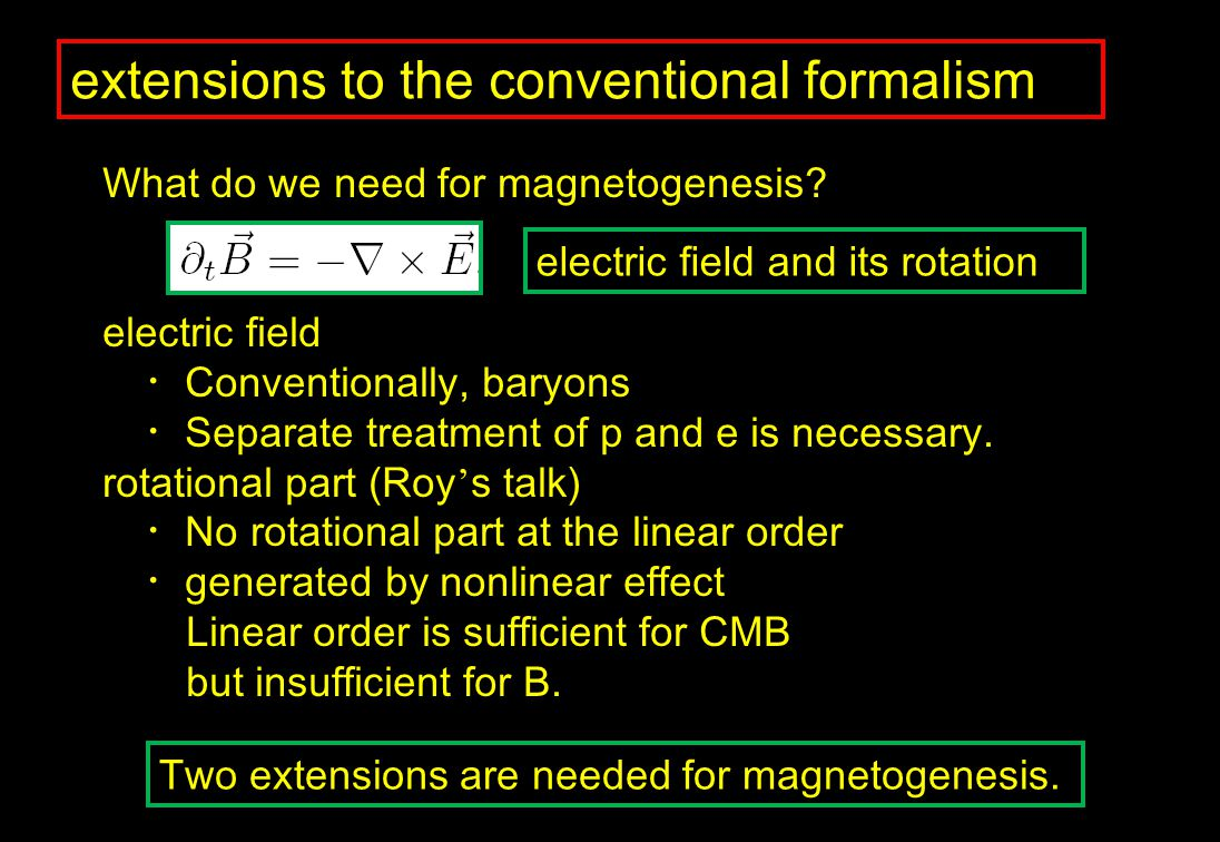 extensions to the conventional formalism What do we need for magnetogenesis.