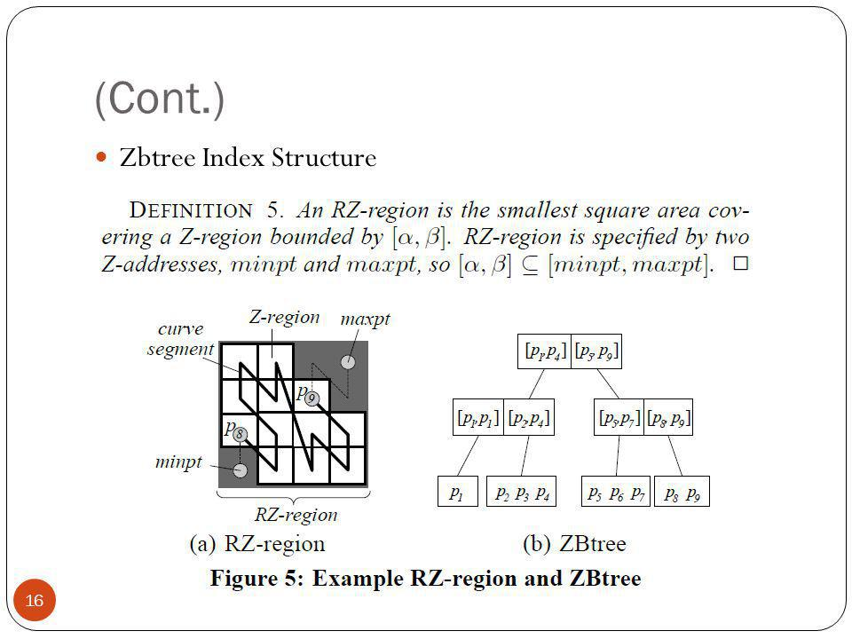 (Cont.) Zbtree Index Structure 16