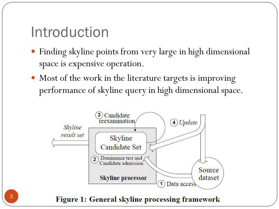 Introduction Finding skyline points from very large in high dimensional space is expensive operation. Most of the work in the literature targets is im