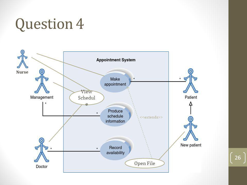 Question 4 Open File Nurse View Schedul e > 26