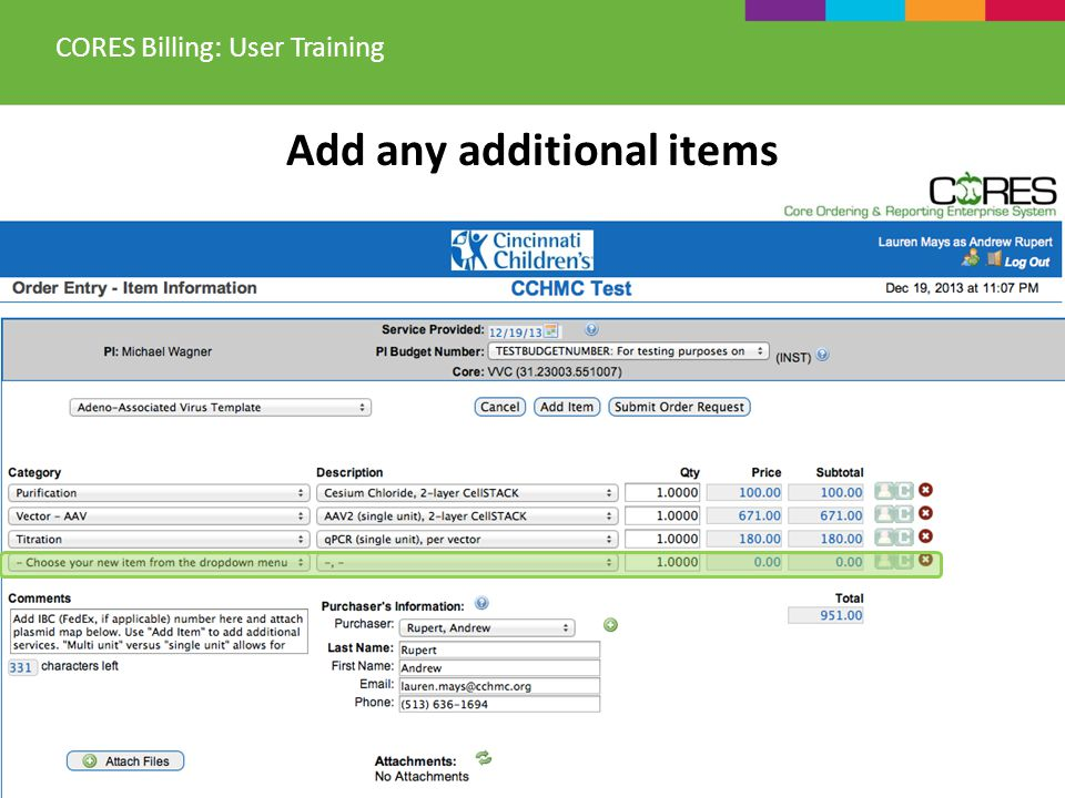 Add any additional items CORES Billing: User Training