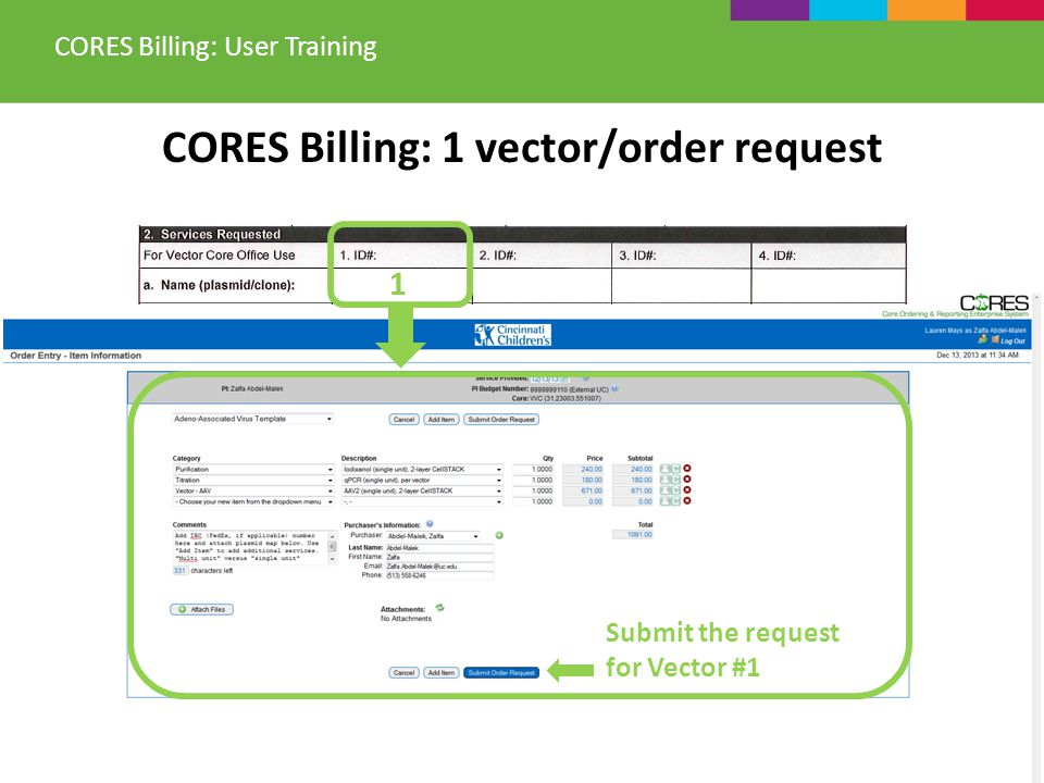 CORES Billing: 1 vector/order request CORES Billing: User Training 1 Submit the request for Vector #1