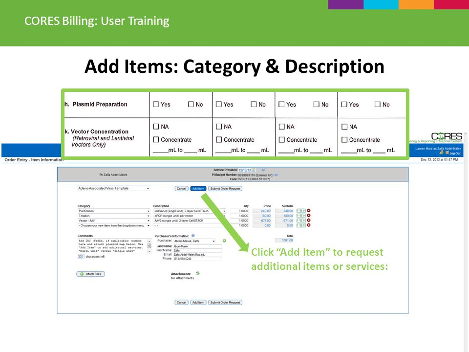 Add Items: Category & Description CORES Billing: User Training Click Add Item to request additional items or services: