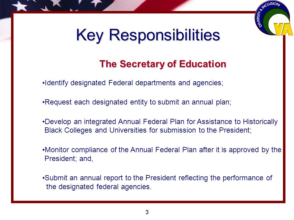 3 Key Responsibilities The Secretary of Education Identify designated Federal departments and agencies; Request each designated entity to submit an annual plan; Develop an integrated Annual Federal Plan for Assistance to Historically Black Colleges and Universities for submission to the President; Monitor compliance of the Annual Federal Plan after it is approved by the President; and, Submit an annual report to the President reflecting the performance of the designated federal agencies.