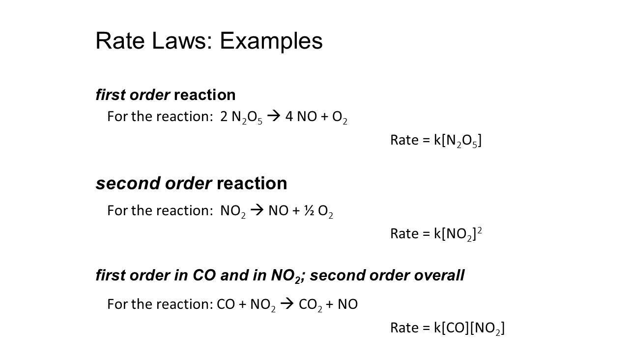 Rate Laws: Examples For the reaction: 2 N 2 O 5 4 NO + O 2 Rate = k[N 2 O 5 ] For the reaction: NO 2 NO + ½ O 2 Rate = k[NO 2 ] 2 For the reaction: CO