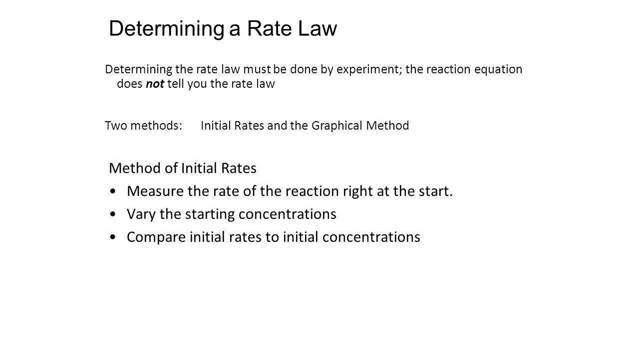 Determining a Rate Law Determining the rate law must be done by experiment; the reaction equation does not tell you the rate law Two methods: Initial