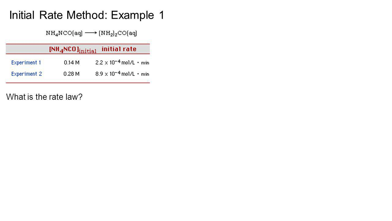 Initial Rate Method: Example 1 What is the rate law?