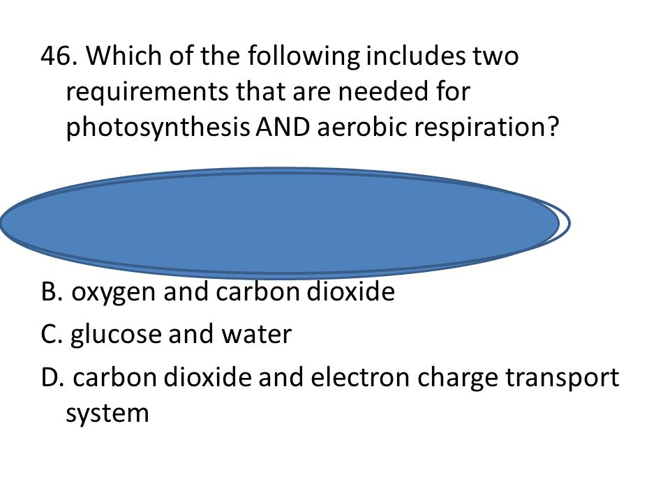 46. Which of the following includes two requirements that are needed for photosynthesis AND aerobic respiration? A. electron charge transport system a