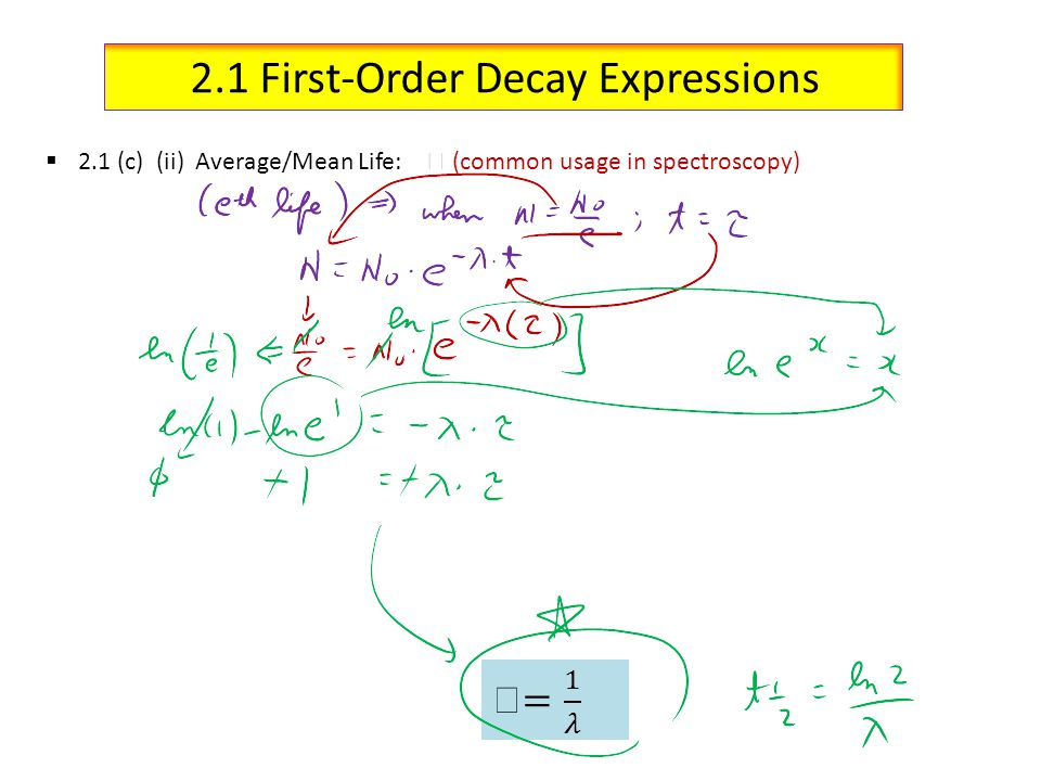 2.1 First-Order Decay Expressions 2.1 (c) (ii) Average/Mean Life: (common usage in spectroscopy)