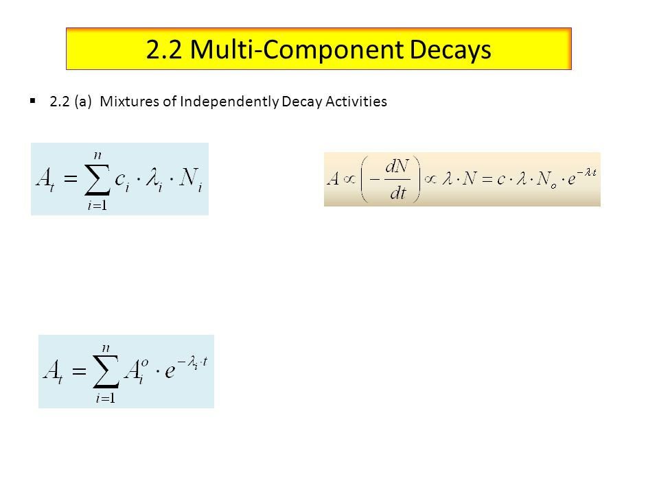 2.2 Multi-Component Decays 2.2 (a) Mixtures of Independently Decay Activities