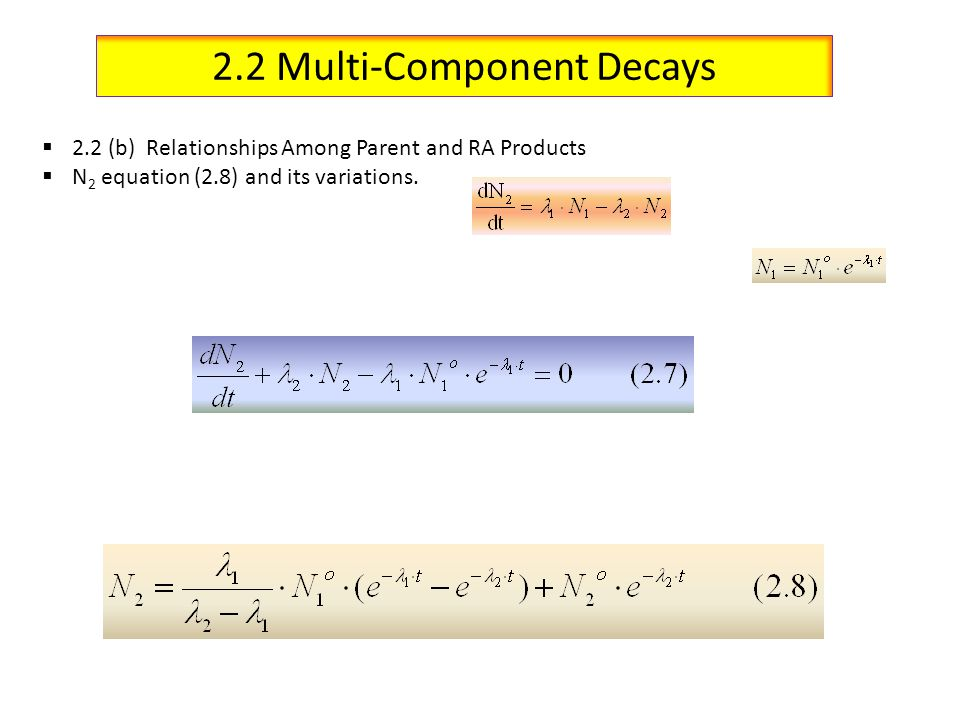 2.2 Multi-Component Decays 2.2 (b) Relationships Among Parent and RA Products N 2 equation (2.8) and its variations.