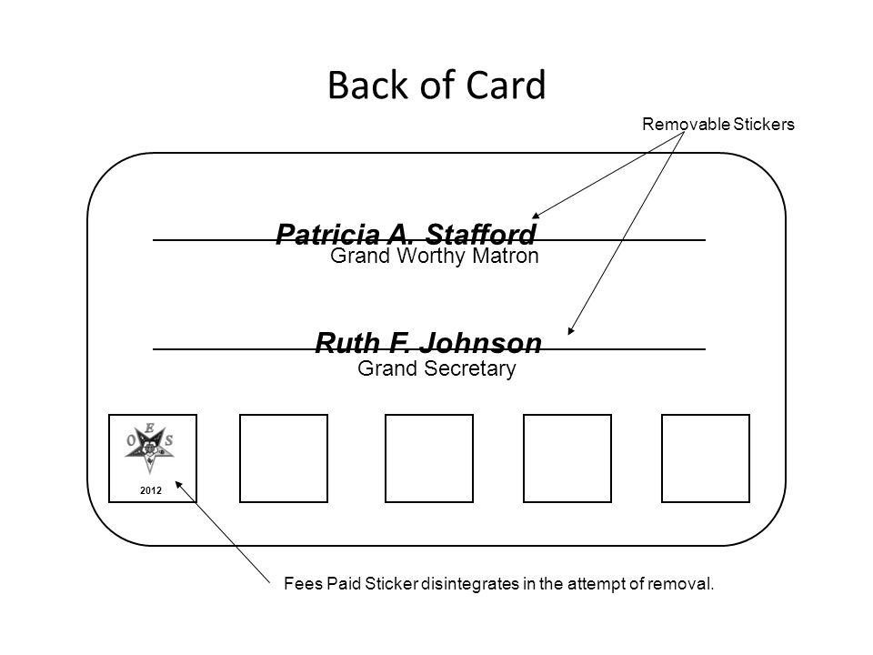 Grand Worthy Matron Grand Secretary Back of Card Patricia A.