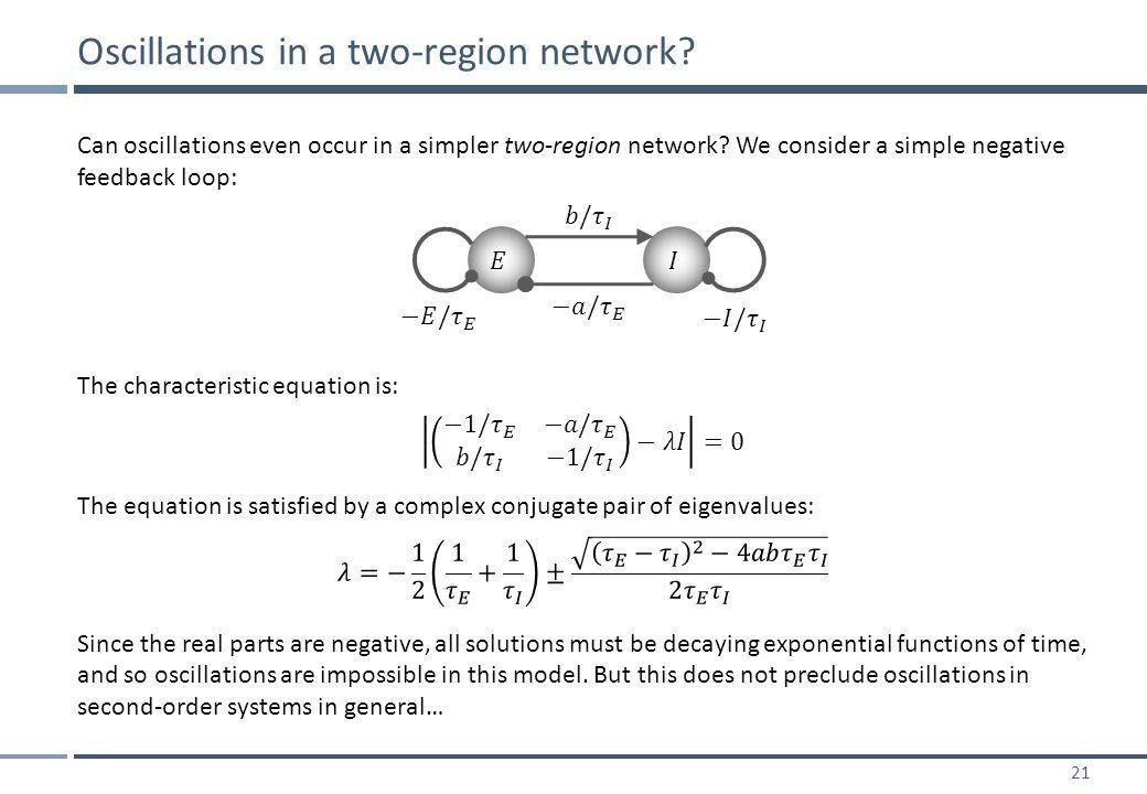 21 Can oscillations even occur in a simpler two-region network.