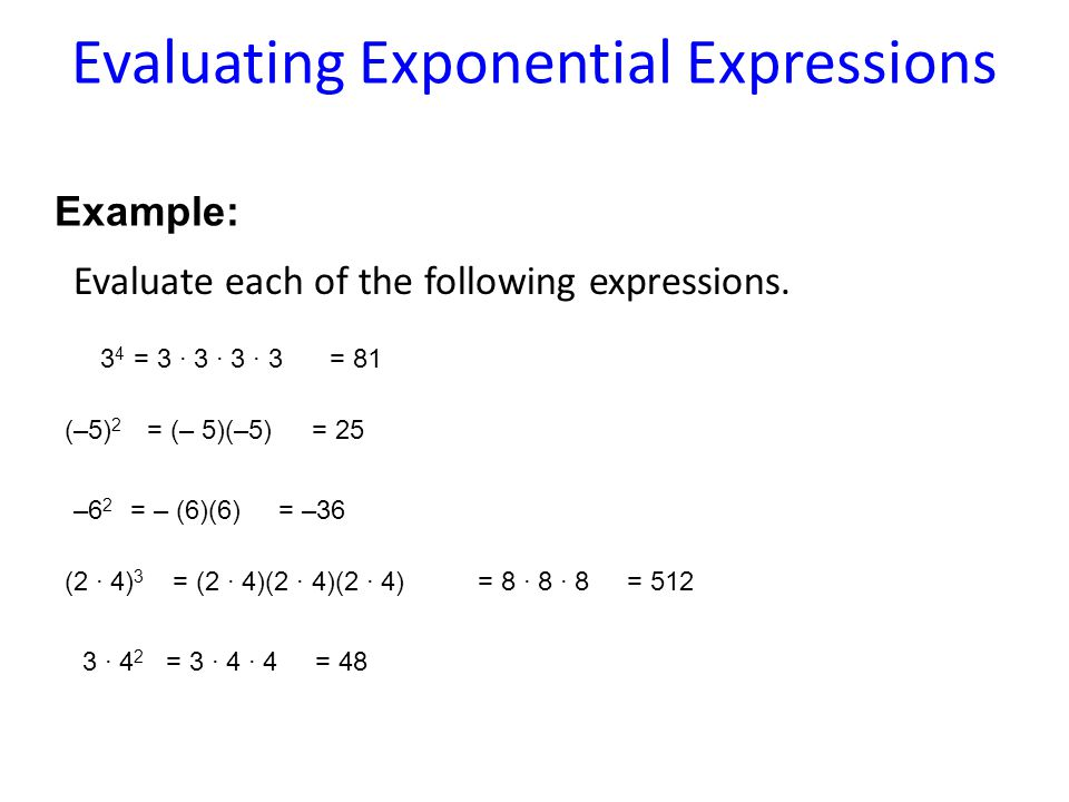 Evaluate each of the following expressions.