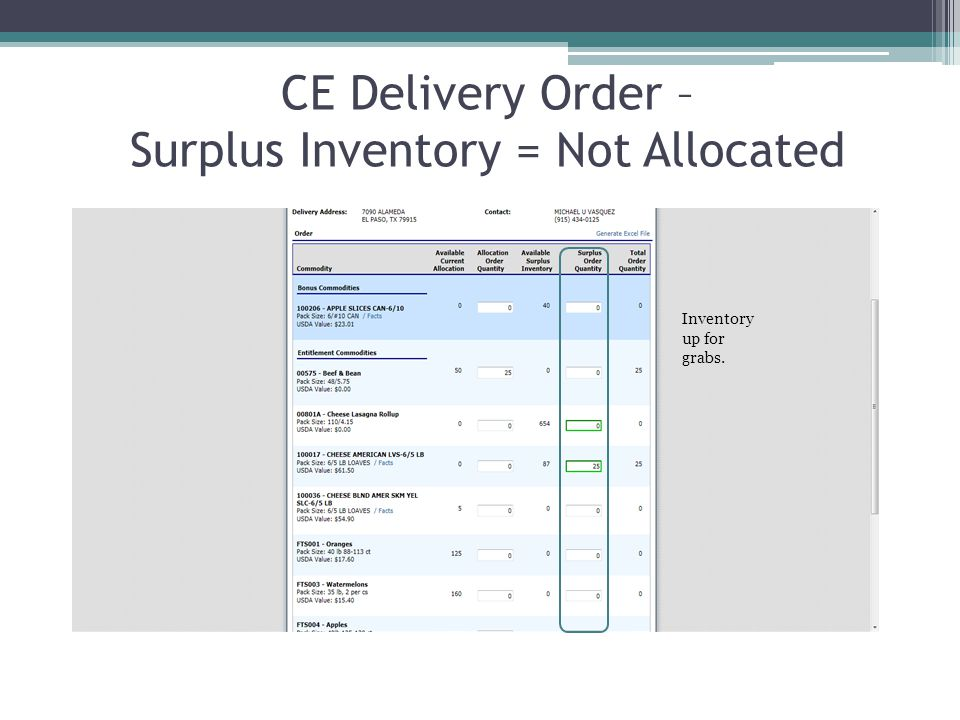 CE Delivery Order – Surplus Inventory = Not Allocated Inventory up for grabs.