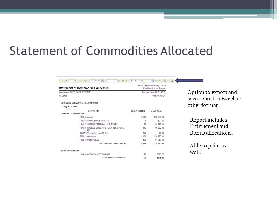 Statement of Commodities Allocated Option to export and save report to Excel or other format Report includes Entitlement and Bonus allocations.