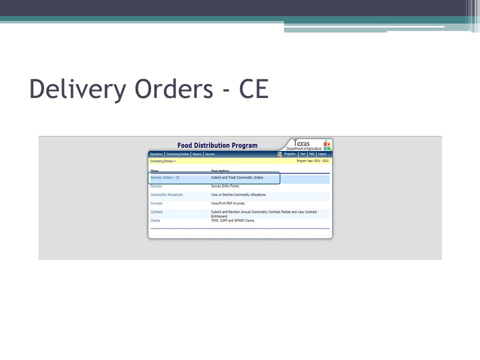 Delivery Orders - CE