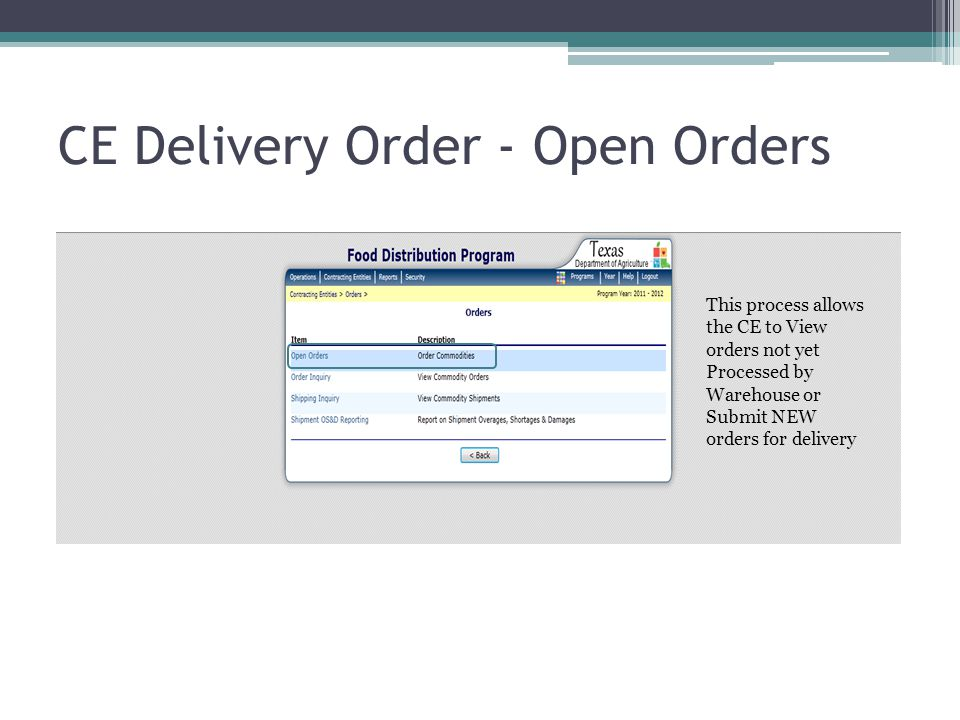 CE Delivery Order - Open Orders This process allows the CE to View orders not yet Processed by Warehouse or Submit NEW orders for delivery
