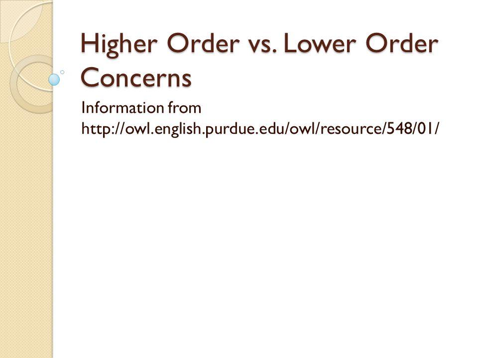 Higher Order Concerns vs.
