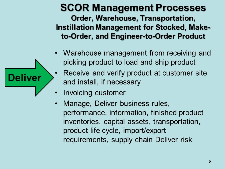 SCOR Management Processes Order, Warehouse, Transportation, Instillation Management for Stocked, Make- to-Order, and Engineer-to-Order Product Warehou