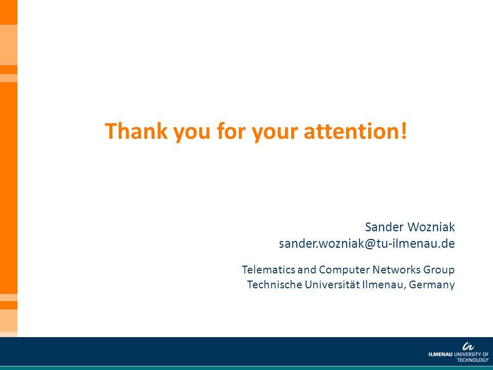 Sander Wozniak sander.wozniak@tu-ilmenau.de Thank you for your attention! Telematics and Computer Networks Group Technische Universität Ilmenau, Germa