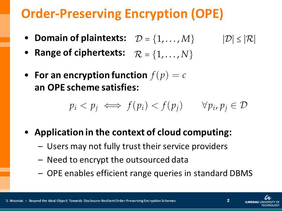S. Wozniak – Beyond the Ideal Object: Towards Disclosure-Resilient Order-Preserving Encryption Schemes 2 Domain of plaintexts: Range of ciphertexts: F