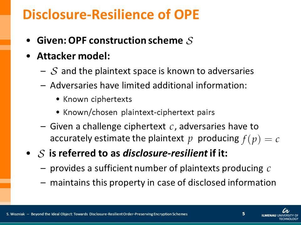 S. Wozniak – Beyond the Ideal Object: Towards Disclosure-Resilient Order-Preserving Encryption Schemes 5 Disclosure-Resilience of OPE Given: OPF const